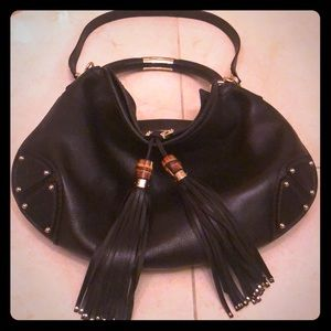 Gucci Top Handle Indy Black Leather Hobo Bag